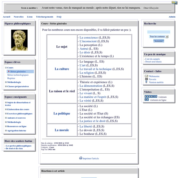 Philo 52 - Séries générales (voir aussi la section Cours)