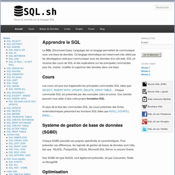 Cours et Tutoriels sur le Langage SQL