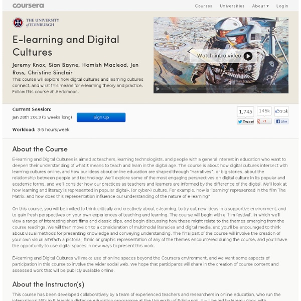 E-learning and Digital Cultures