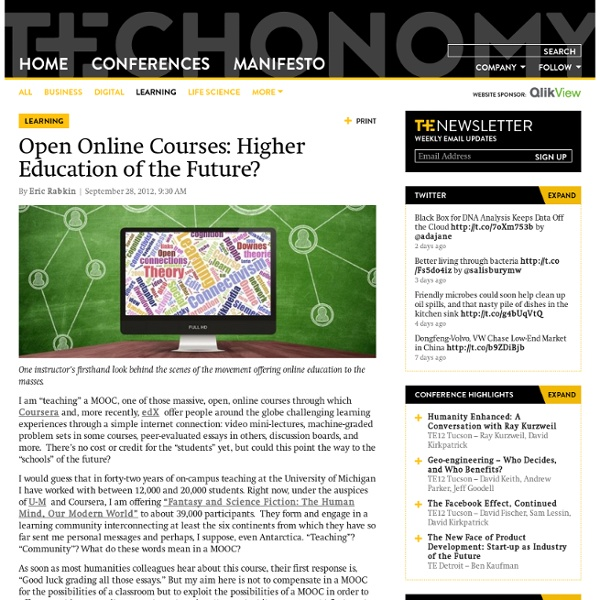 Open Online Courses: Higher Education of the Future? - Techonomy