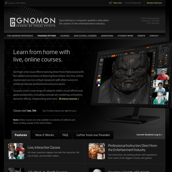 Online Courses in Visual Effects & 3D Animation for Film & Games
