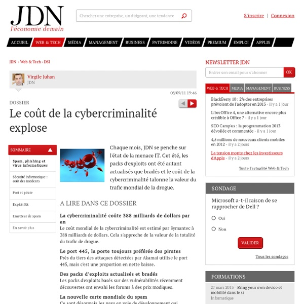 Le coût de la cybercriminalité explose - Journal du Net Solutions