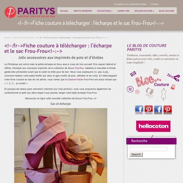 Fiche couture à télécharger : l'écharpe et le sac Frou-Frou