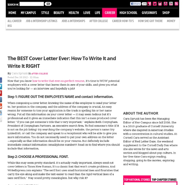 Ideal Cover Letter: The BEST Cover Letter Ever: How To Write It And Write It