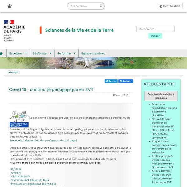 Covid 19 - continuité pédagogique en SVT (Académie de Paris)