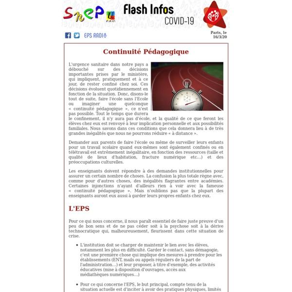 SNEP-FSU - COVID-19 - Continuité pédagogique