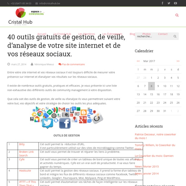 40 outils gratuits de gestion, de veille, d'analyse de votre site internet et de vos réseaux sociaux. - Cristal Hub - Coworking