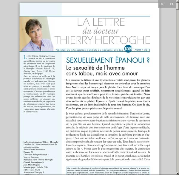 Lettre dr Thierry Hertoghe n°9 - août 2013 - Sexualité masculine [pdf]