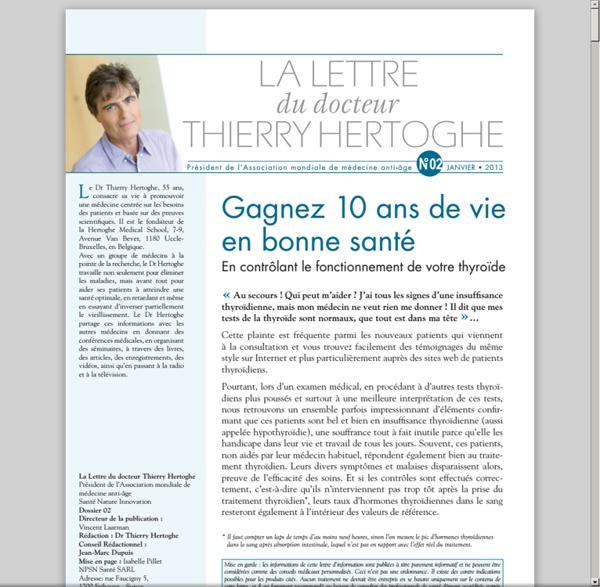 Lettre dr Thierry Hertoghe n°2 - janvier 2013 - L'insuffisance thyroïdienne ou hypothyroïdie modérée [pdf]