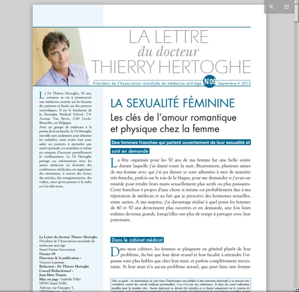 Lettre dr Thierry Hertoghe n°10 - sept. 2013 - Sexualité féminine [pdf]