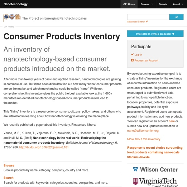 Nanotechnology in Consumer Product