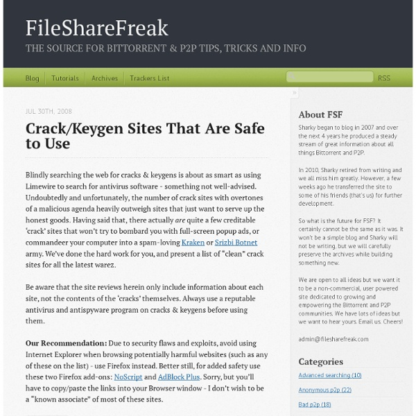 Crack/Keygen Sites That Are Safe To Use