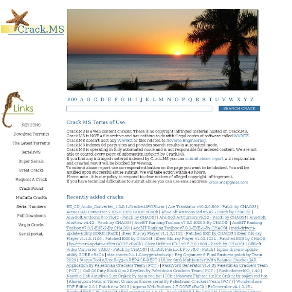 Cracks serials keygens keys warez software application program download