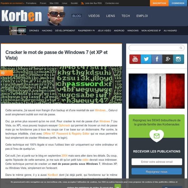 Cracker le mot de passe de Windows 7 (et XP et Vista)
