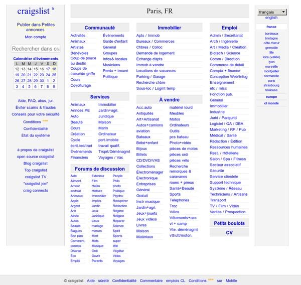 Craigslist: Paris, FR emplois, logements, rencontres, vente, services, communauté et événements