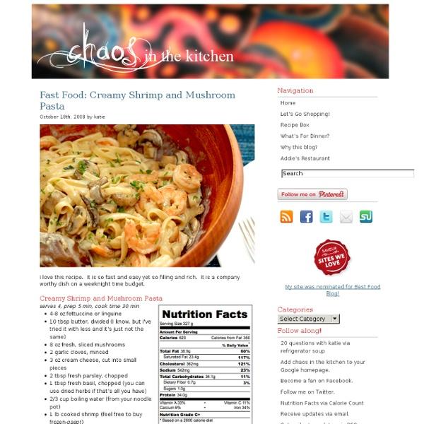 Fast Food: Creamy Shrimp and Mushroom Pasta