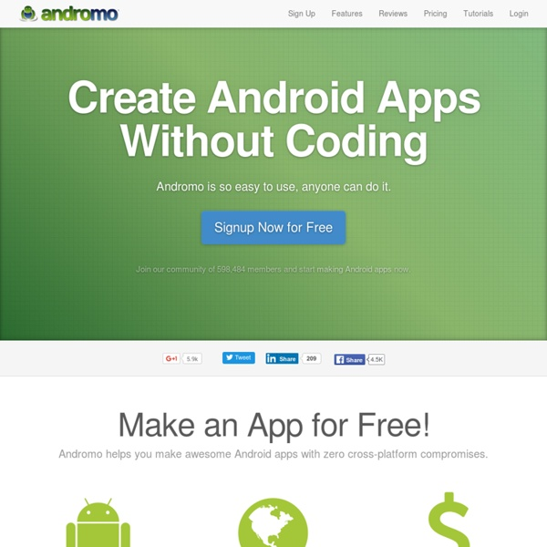 Create Android apps without coding using Andromo App Maker for Android
