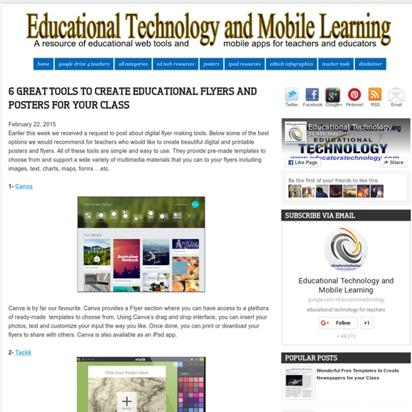 6 Great Tools to Create Educational Flyers and Posters for Your Class