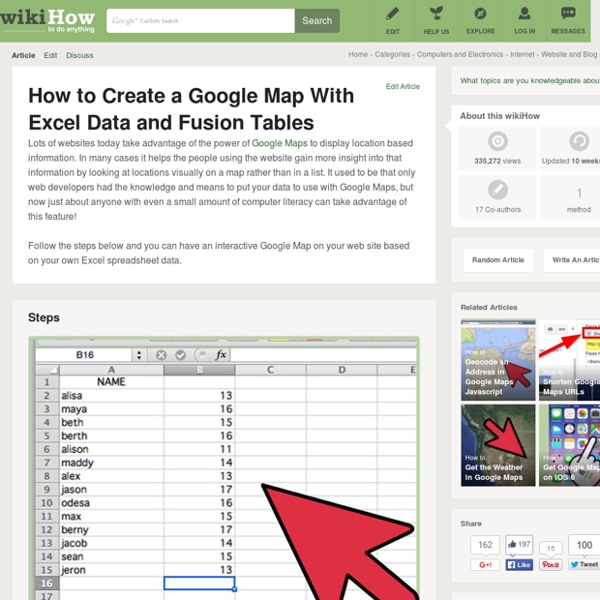 How to Create a Google Map With Excel Data and Fusion Tables - 16 Easy Steps