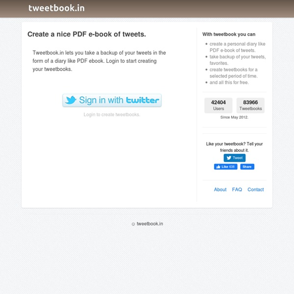 Create a nice PDF e-book of tweets with tweetbook.in