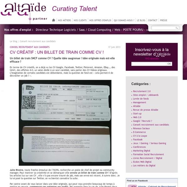 CV créatif : un billet de train comme CV !