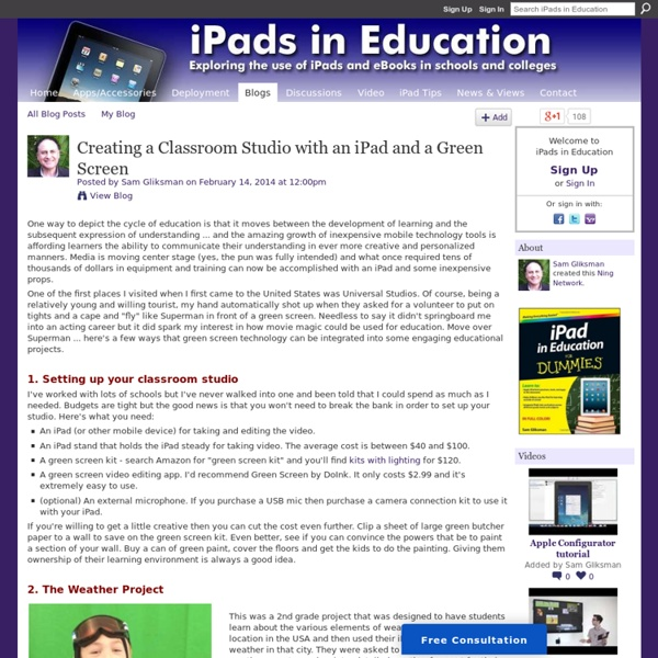 Creating a Classroom Studio with an iPad and a Green Screen
