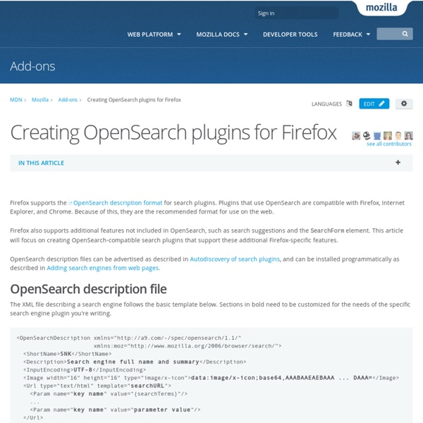Creating OpenSearch plugins for Firefox - Mozilla