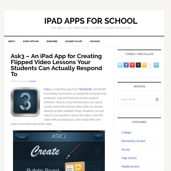 Ask3 – An iPad App for Creating Flipped Video Lessons Your Students Can Actually Respond To