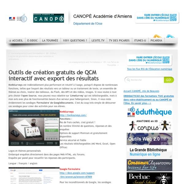 Outils de création gratuits de QCM interactif avec export des résultats