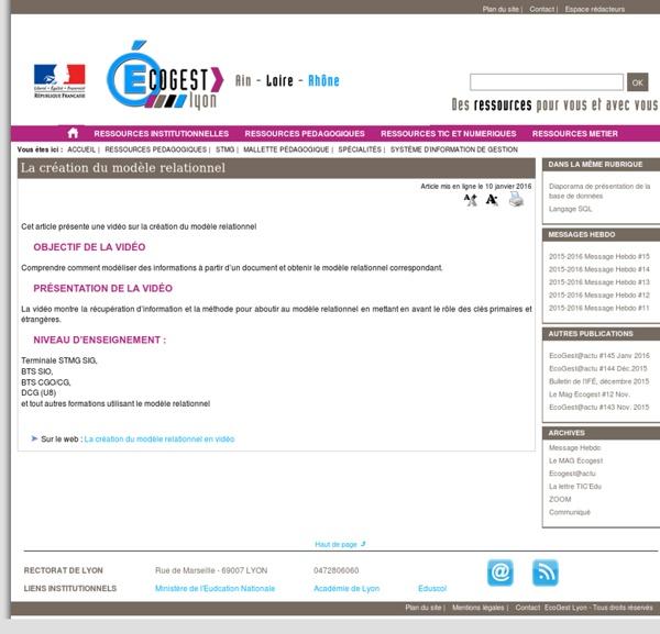 La création du modèle relationnel - [Site Economie-Gestion Académie de Lyon]
