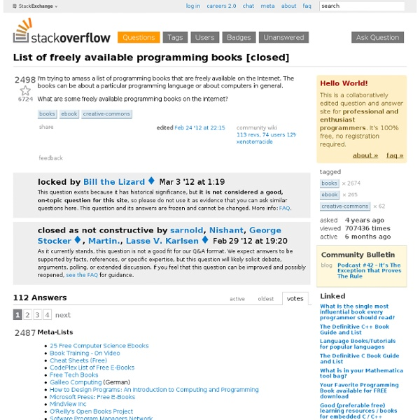 Free - List of freely available programming books