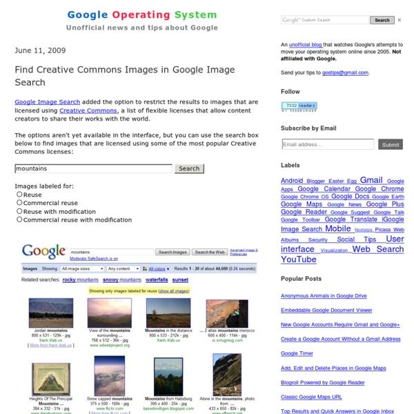Moteur pour chercher des images sous licence Creative Commons dans Google
