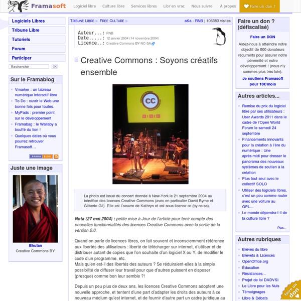 Creative Commons: Soyons créatifs ensemble - Free Culture