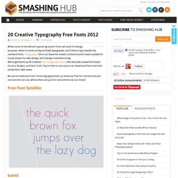 20 Creative Typography Free Fonts 2012
