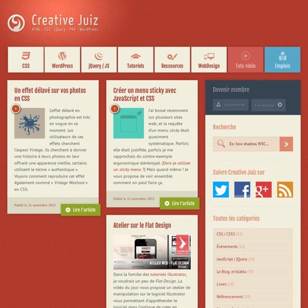 CreativeJuiz, Webdesign et développement autour de HTML5, CSS3, WordPress, PHP et jQuery.
