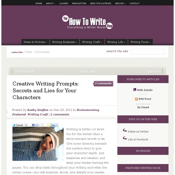 Creative Writing Prompts: Secrets and Lies for Your Characters