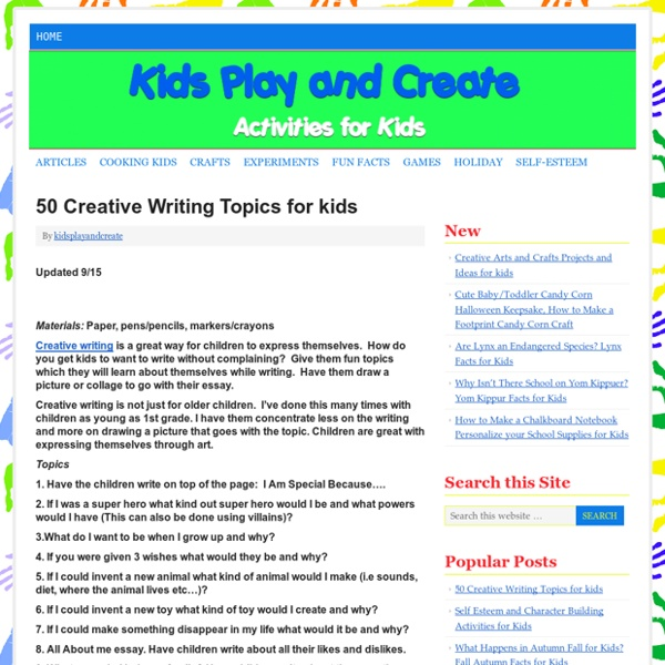 creative writing topics for kids pearltrees