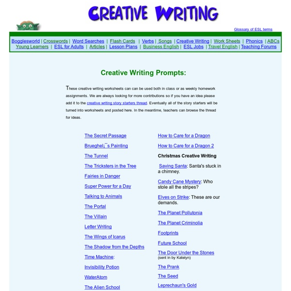 ESL Creative Writing Worksheets Pearltrees