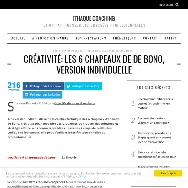 Créativité: les 6 chapeaux de de Bono, version individuelle