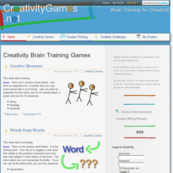 Creativity Games - Brain Training for Creativity and Creative Thinking