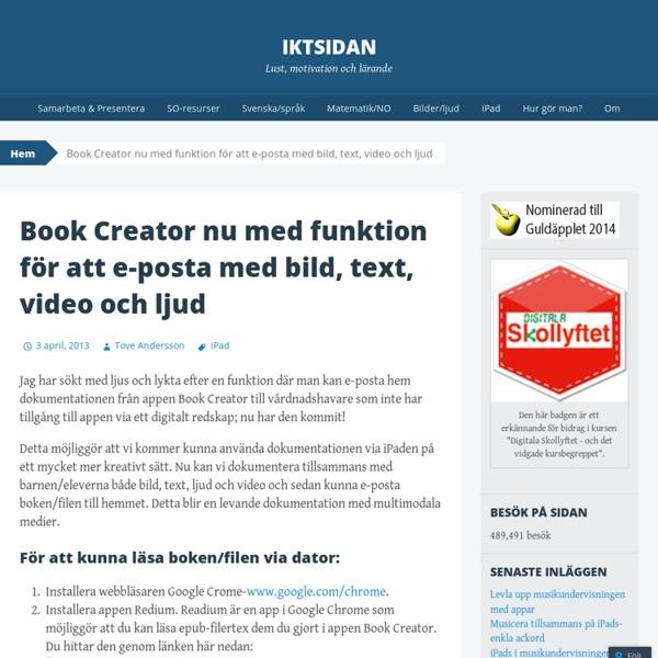 Book Creator nu med funktion för att e-posta med bild, text, video och ljud