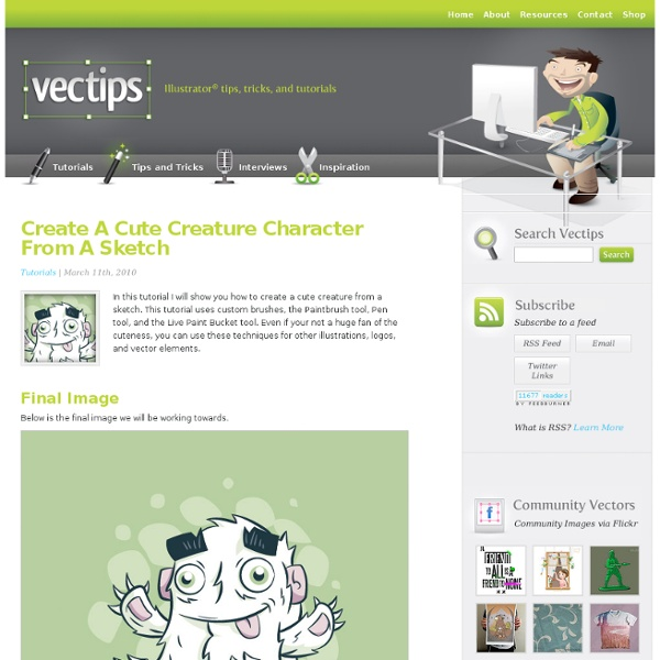 Create A Cute Creature Character From A Sketch In Illustrator