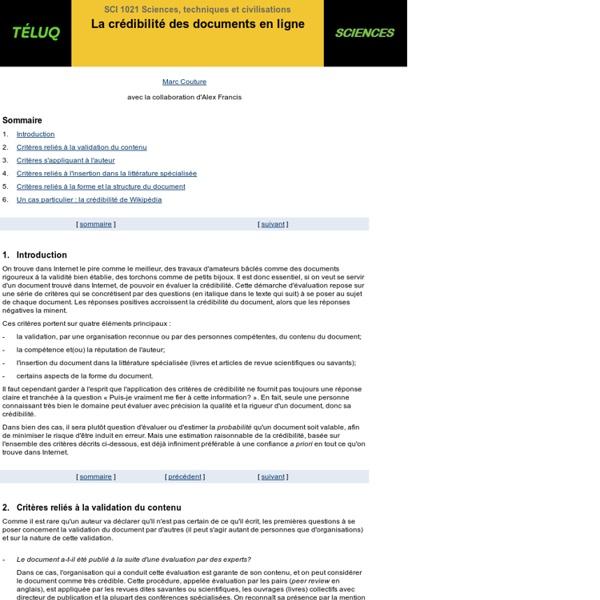 La crédibilité des documents en ligne