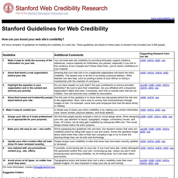 The Web Credibility Project: Guidelines - Stanford University