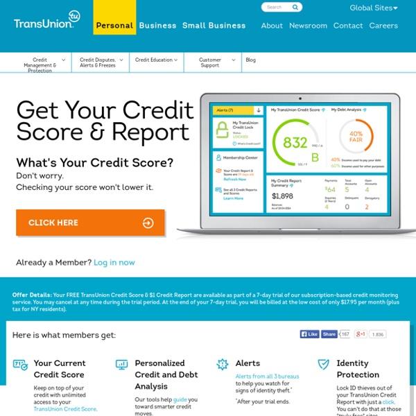 Credit Report, Credit Scores & Credit Checks