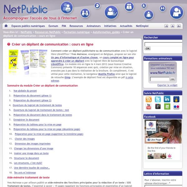 Créer un dépliant de communication : cours en ligne