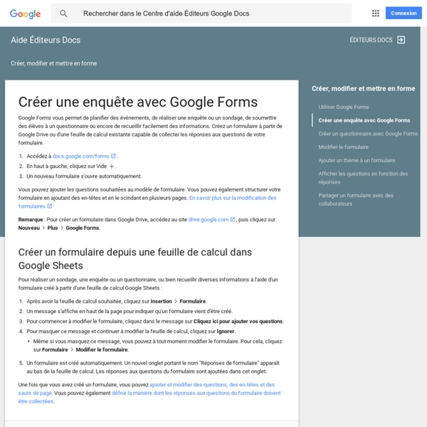 Créer une enquête avec GoogleForms - Centre d'aide ÉditeursDocs