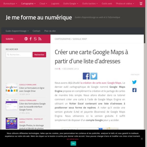 Créer une carte Google Maps à partir d'une liste d'adresses