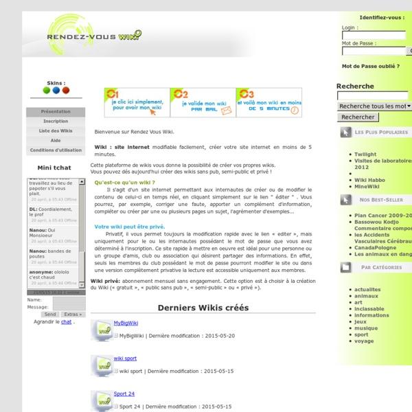 Creer votre wiki gratuit ou votre wiki privatif sur Rendez Vous Wiki - Rendez Vous Wiki