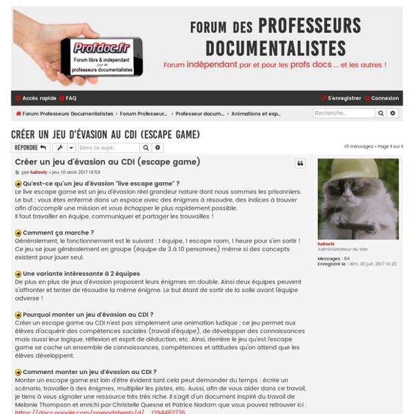 Créer un jeu d'évasion au CDI (escape game) - Profdoc.fr